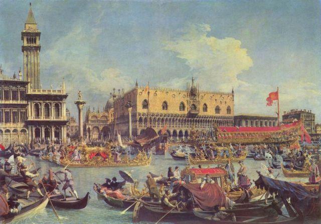 Canaletto: Il ritorno del Bucintoro nel Molo il giorno dell'Ascensione.