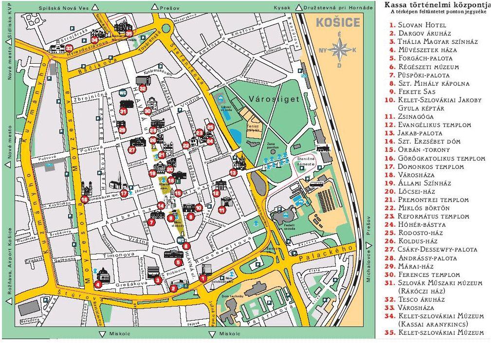 kassa térkép Utazás a Felvidéken 24. – Kassa – templomok, épületek a Hlavnán  kassa térkép