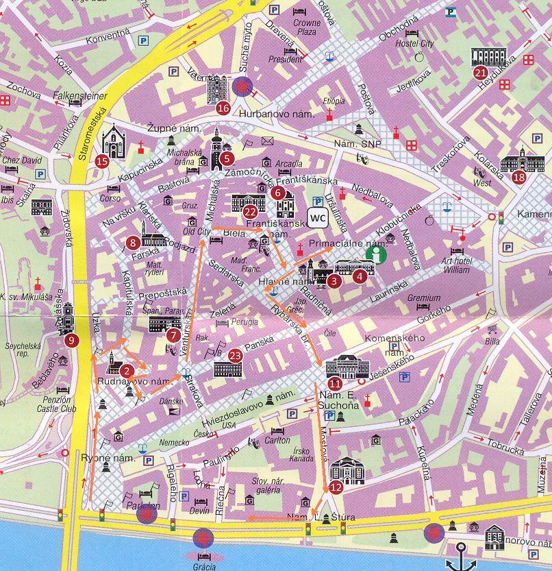 pozsony térkép Pozsony, a koronázási város – 02. A koronázási útvonalon  pozsony térkép