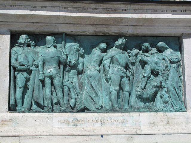 Budapest, Hősök tere Milleniumi emlékmű - Nagy Lajos bevonul Nápolyba 1348 -tk