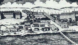 Újvásártér és környéke 18. sz. végén- J.F.Binder rézmetszete, részlet 1828