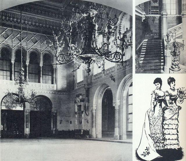 Vigadó1870 körül, nagyterem és lépcsőház