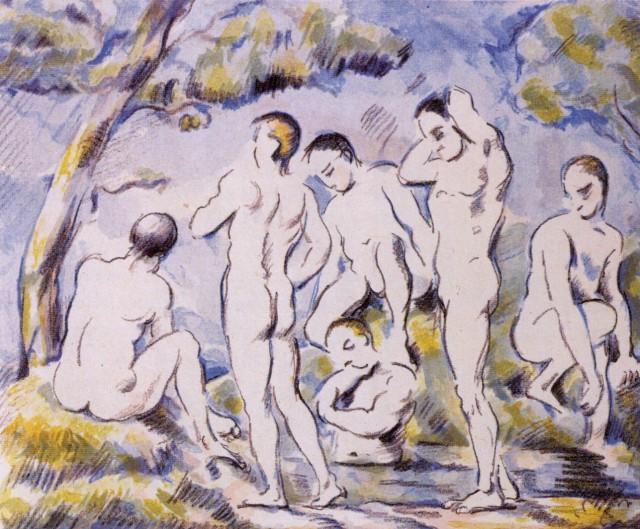 Cézanne-Nagy fürdőzők.1896-97 lito, SZépművészeti M