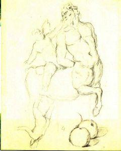 Cézanne- vázlatok, antik kentaur szobor utáni rajzzal