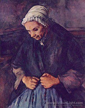 Idős asszony rózsafüzérrel,k