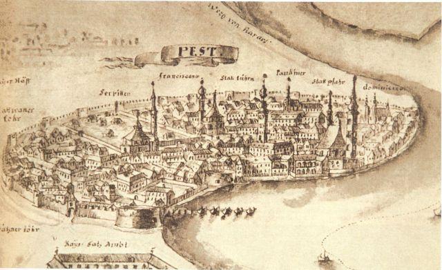 Pest 1728 látképe