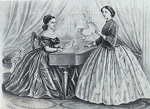 társasági zenélés - Rohn Alajos litográfiája, 1861
