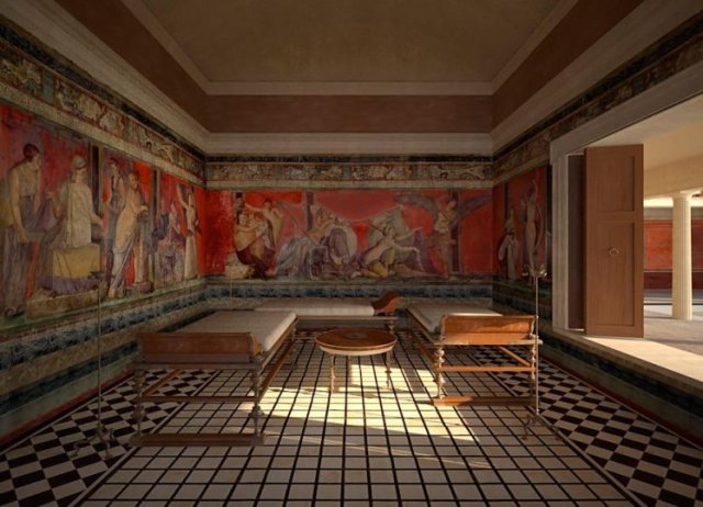 Villa of the Mysteries, reconstruction of the Triclinium 00 00 1b