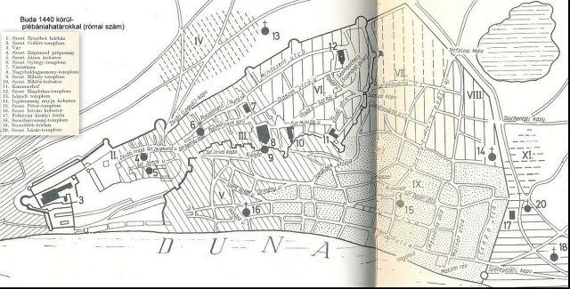 Buda 1440 körül részlet, jelmagyarázattal