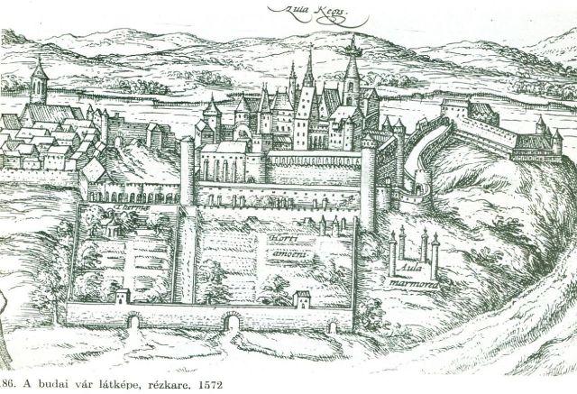 Budai vár látképe, rézkarc, 1572
