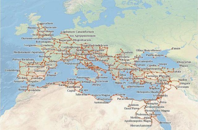 Római világ városai térképe