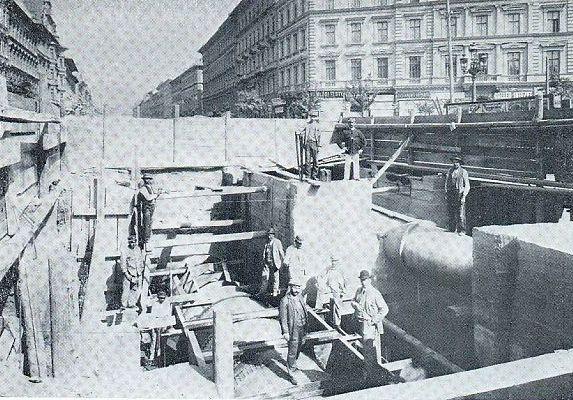 Víz főnyomócső és földalatti vasút kereszteződés építése Oktogonnál, 1895 Bp.törtI-VI