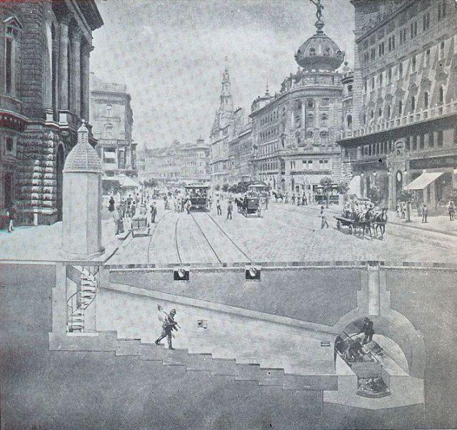 Nagykőrút főgyűjtő keresztmetszete 1890-es második fele Bp.törtI-VI