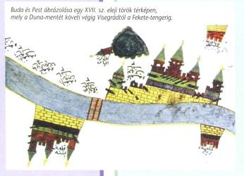 Buda környékének török ábrázolása, vízfestmény Bp. Krónikája 0007