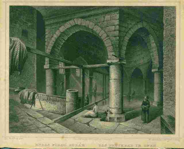 Rudas fürdő Budán -Rohbock 1860 metszet