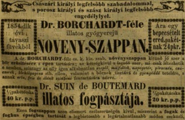Szappan reklám a Vasárnapi Ujságból 1854
