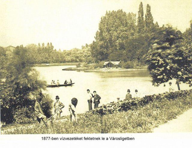 Városligetben vízvezetéket fektetnek le, 1877