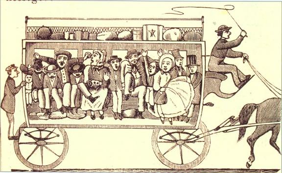 Az Üstökös karikatúrája a pesti omnibuszok zsúfoltságáról