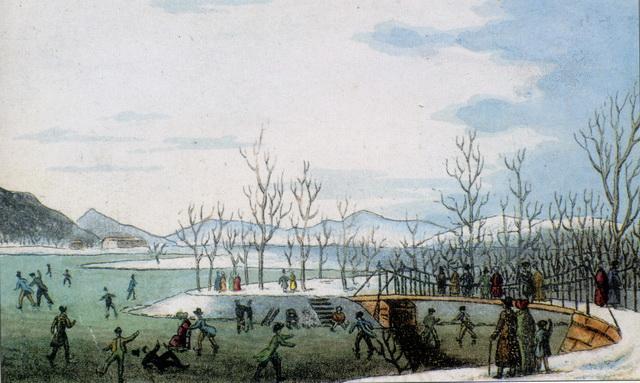 Carl Schwindt - Korcsolyázás a Városligeti tavon az 1840-es években