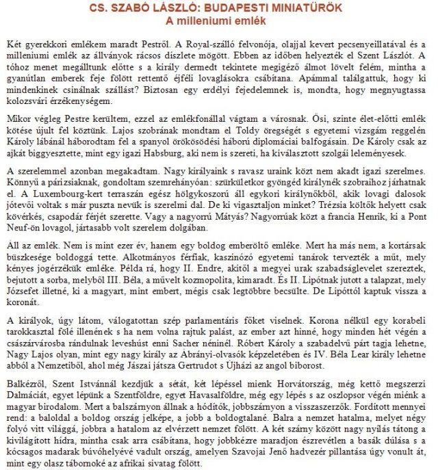 Cs. Szabó László - Milleneumi emlék