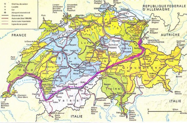 2003. évi útvonal- Svájc