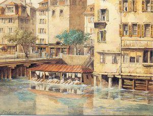 akvarell részlet1871, le pont et tour de l'Ile - Henri Silvestre
