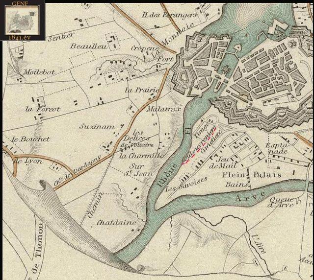 Coulouvreniere 1841. évi térképen