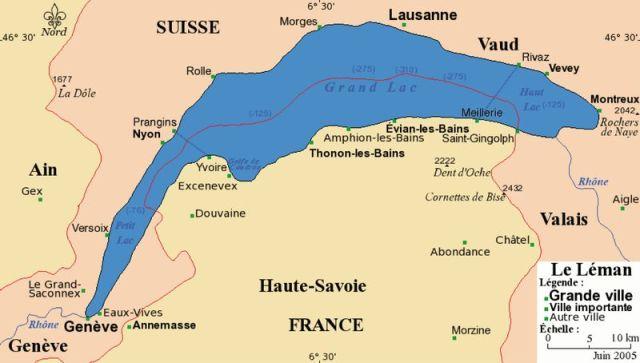 Genfi tó felosztása 3 részre