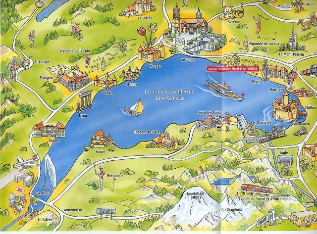 Genfi tó turista tkép