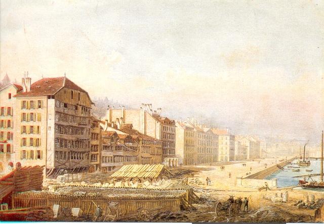 Longemalle kikötője1834 akvarell, Jean DuBois