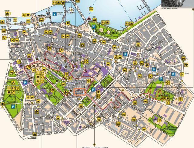 Óváros térkép, kivág, narancs
