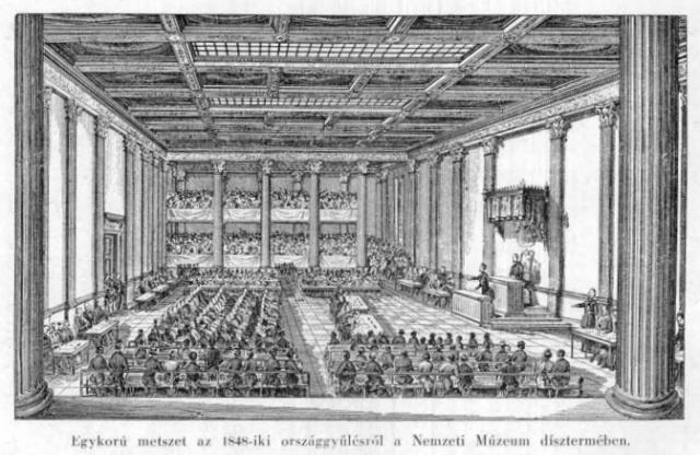 1848. évi országgyűlés a Nemzeti Múzeumban