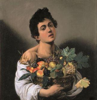 Caravaggio_Gyümölcskosarat tartó fiú 1593 Galleria Borghese, Roma