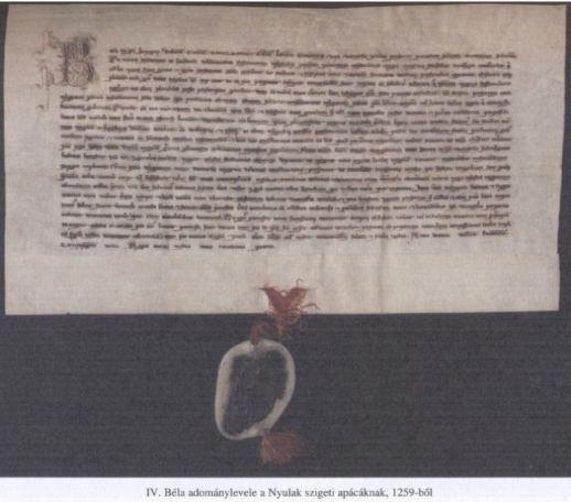 Nyulak szigeti apácáknak adomány-levél