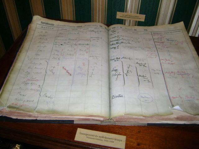 Bajor Gizi Színészmúzeum 028 - szereposztó könyv