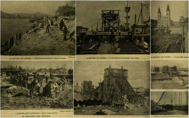 Eskütéri híd építése kollázs
