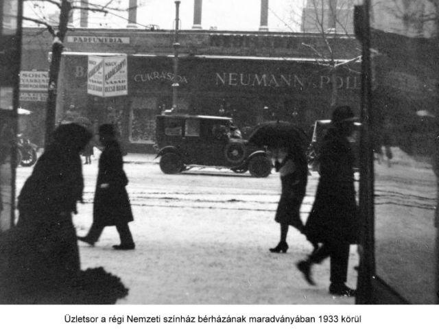 Rákóczi u. 4. Üzletsor a régi Nemzeti színház bérházának maradványában 1933k.6949