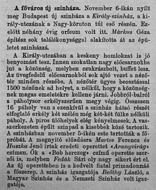 Beöthy - Király színház VU 1903 nov. 6.
