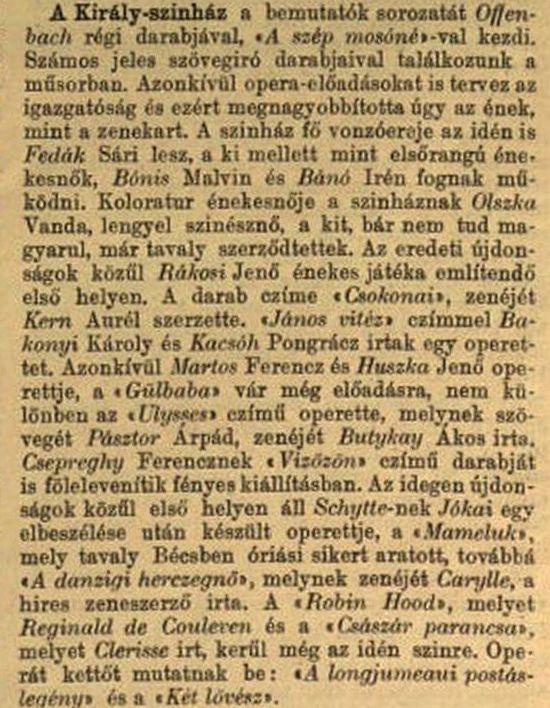 Király - színházak az új idényben VU 1904 172