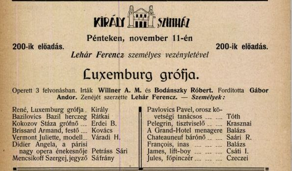 Király Színház, Luxemburg grófja 200. előadás