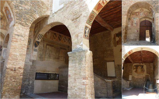 San Gimignano, Palazzo Comunale belső udvar-kollázs