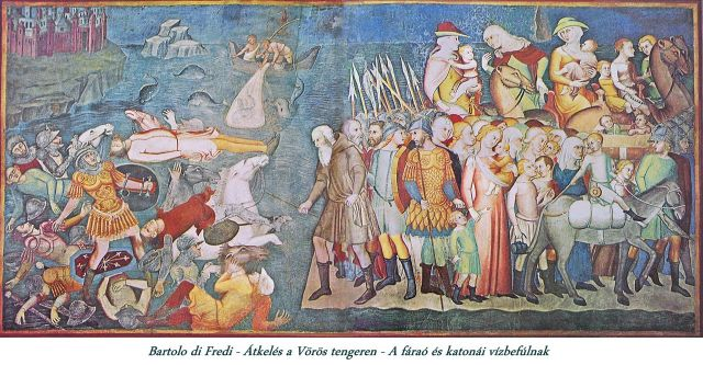 San Gimignano_Crossing_the_Red_Sea -Pharaoh and his soldiers are drowned crossing the Red Sea, from the Old Testament cycle by Bartolo di Fredi