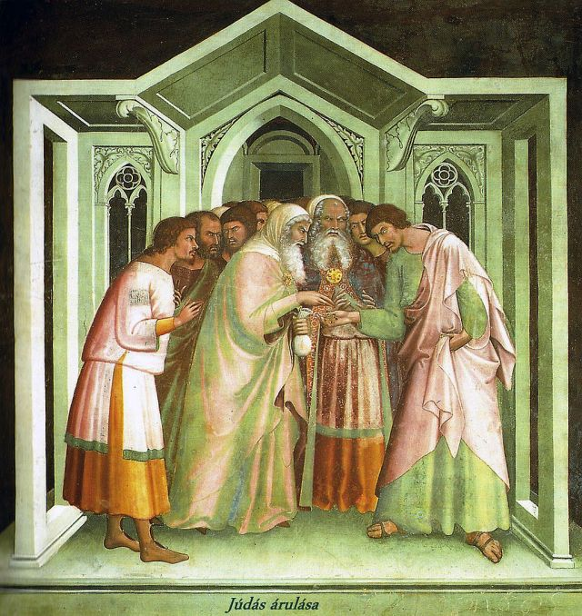 San Gimignano_Judas_receiving_payment_for_betraying_Jesus,_Lippo_Memmi