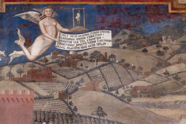 Ambrogio_Lorenzetti_1338-1339, allegorie del buon governo, effeti in campagna, detaglio 1