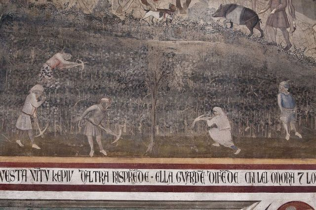 Ambrogio_Lorenzetti_1338-1339, allegorie del buon governo, effeti in campagna, detaglio 2