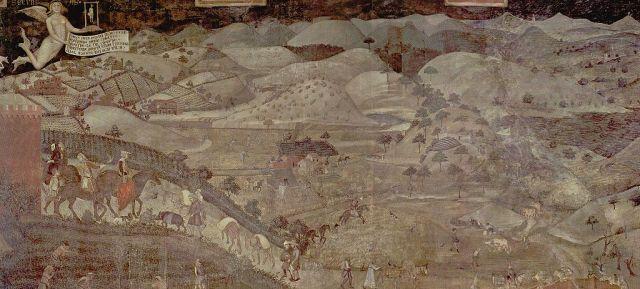 Ambrogio_Lorenzetti_1338-1339, allegorie del buon governo, effeti in campagna