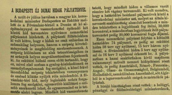 1893 új dunai hidak pályázati kiírása-VU 1894.06.03.