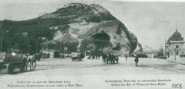 1908 Gellért tér lovaskocsikkal, klap