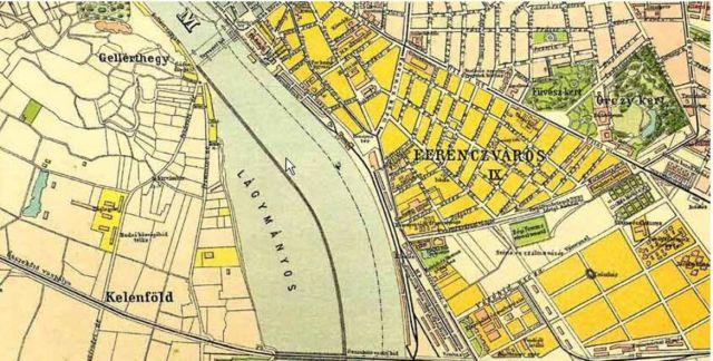 Lágymányos-térkép kijelölt Duna meder szűkítéssel.