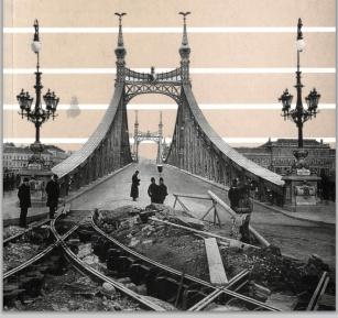 Villamosvágány felújítása a F.J. híd budai hídfőjénél 1898 Erdélyi Mór